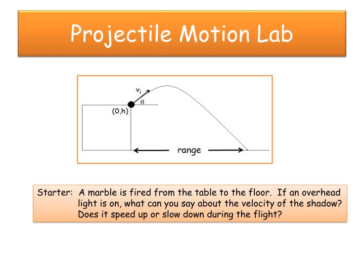 projectile lab Pyl 105  projectile motion in this lab, we will study projectile motion, which is a special case of two-dimensional motion in a two-dimensional space.