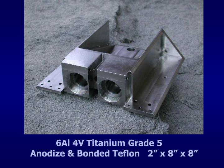 "6Al 4V Titanium Grade 5                   Anodize & Bonded Teflon   2"" x 8"" x 8"""