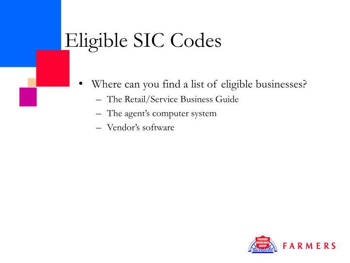 Eligible SIC Codes