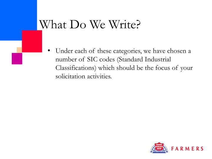 What Do We Write?