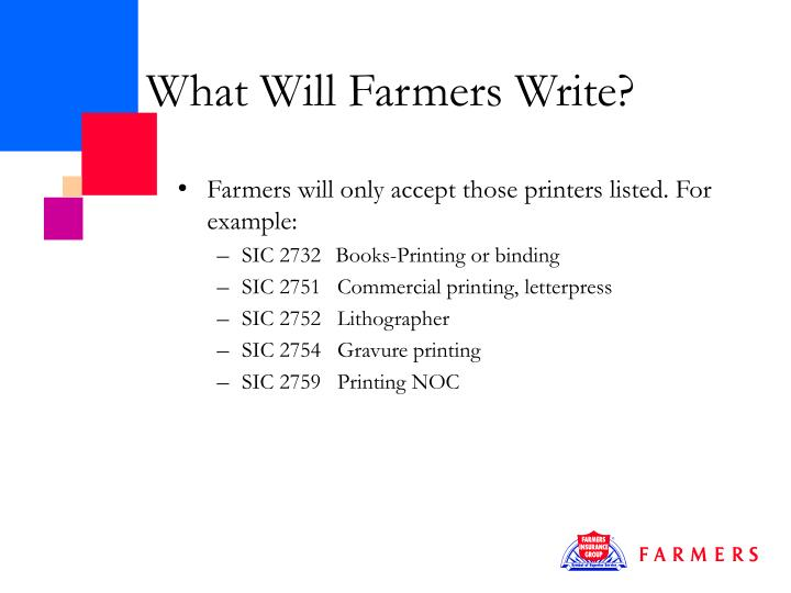 What Will Farmers Write?