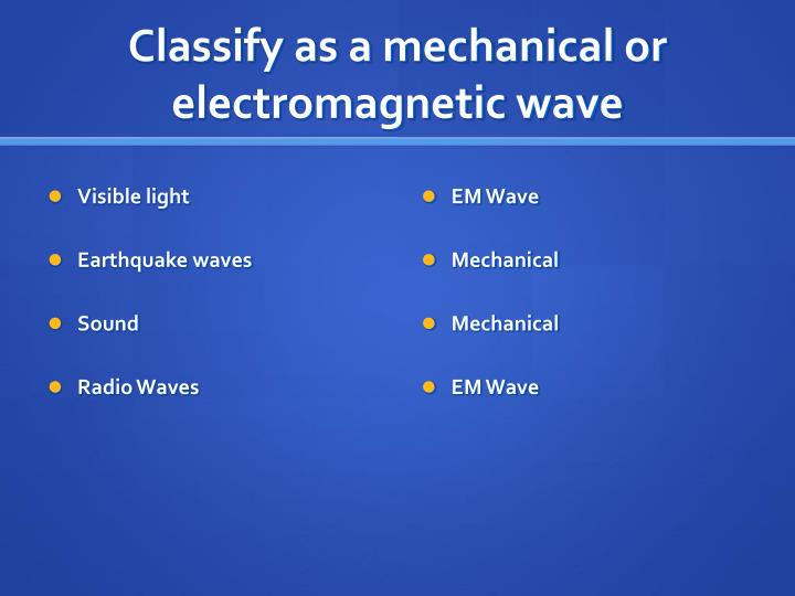 Classify as a mechanical or electromagnetic wave