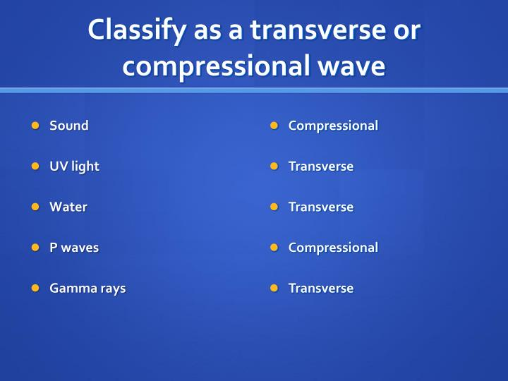 Classify as a transverse or compressional wave