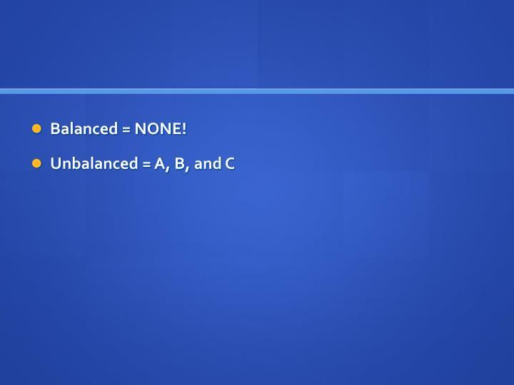 Balanced = NONE!