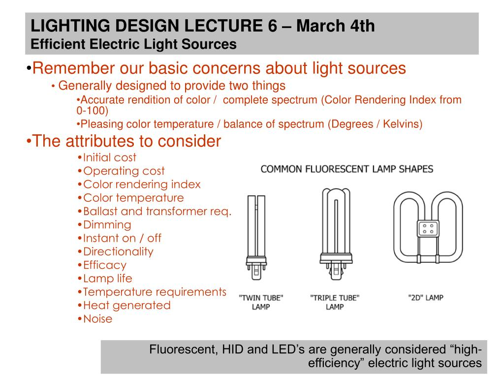 Ppt Lighting Design Lecture 6 March 4th Efficient Electric Light Hid Electronic Ballast Circuit Diagram Basiccircuit Sources N