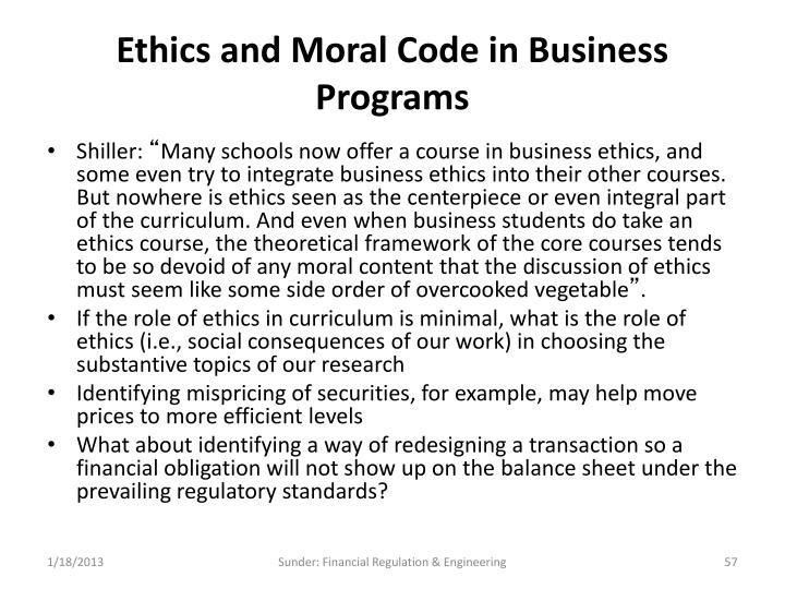 Ethics and Moral Code in Business Programs