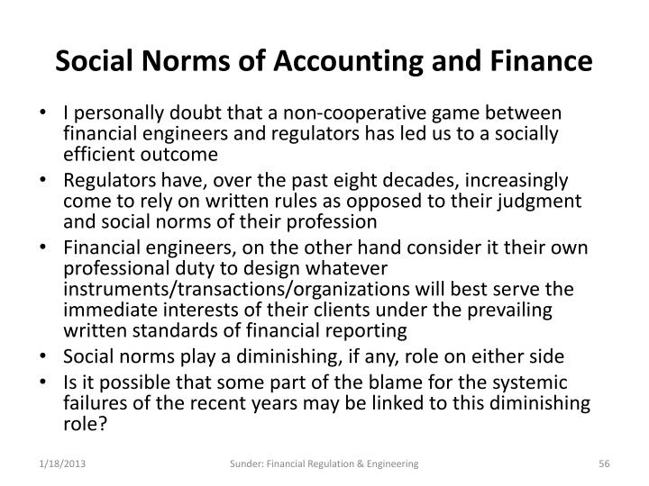 Social Norms of Accounting and Finance