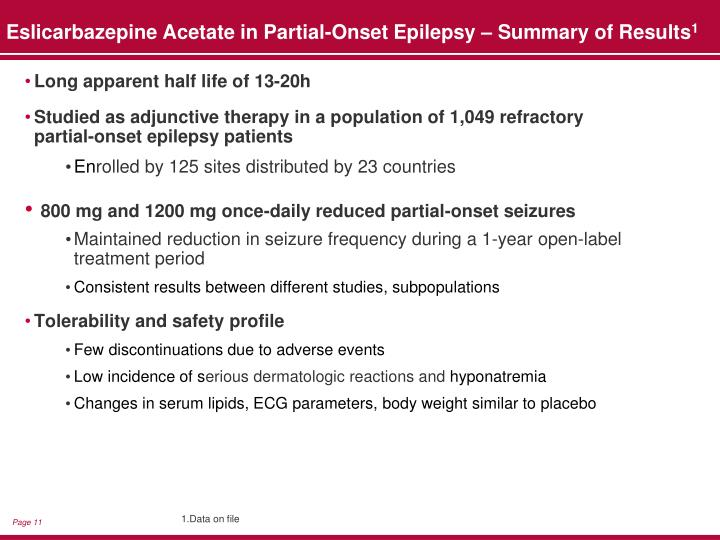 Eslicarbazepine Acetate in Partial-Onset Epilepsy – Summary of Results
