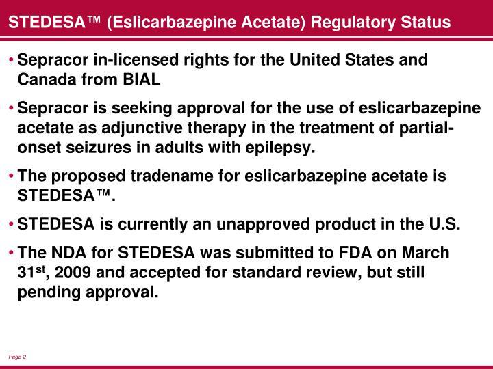 Stedesa eslicarbazepine acetate regulatory status