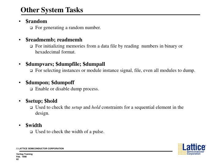 Other System Tasks