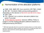 harmonisation of the allocation platforms