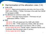 harmonisation of the allocation rules 1 4