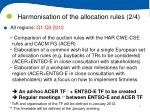 harmonisation of the allocation rules 2 4