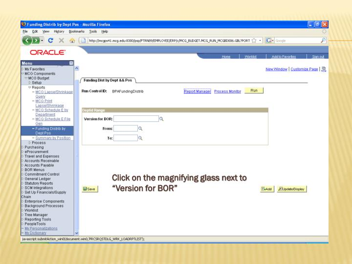 """Click on the magnifying glass next to """"Version for BOR"""""""