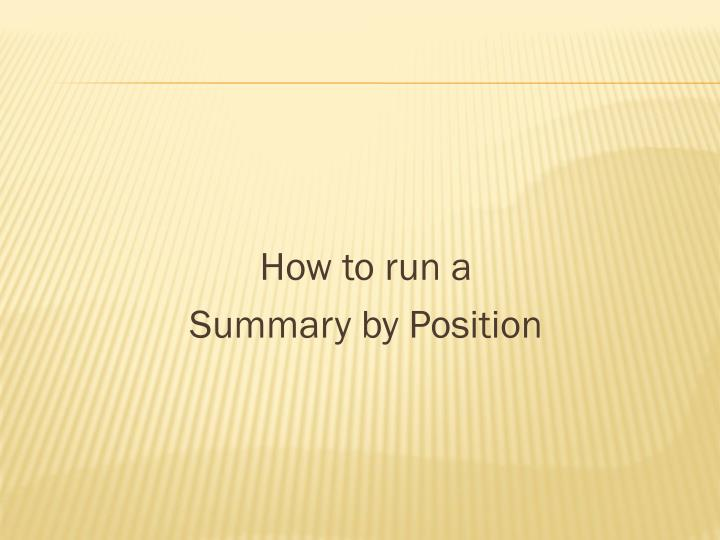 How to run a
