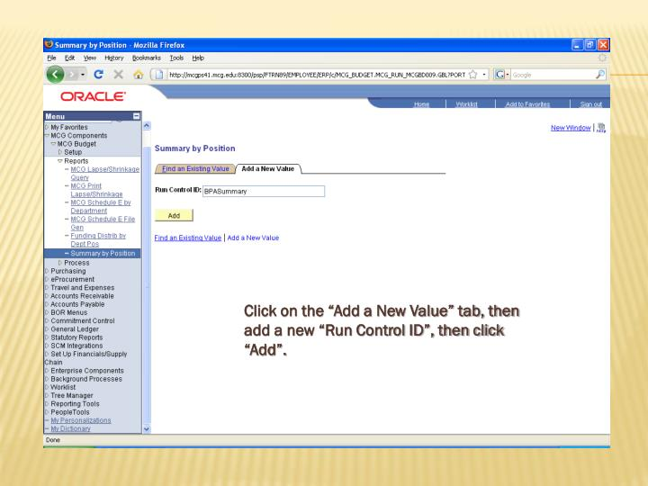 """Click on the """"Add a New Value"""" tab, then add a new """"Run Control ID"""", then click """"Add""""."""