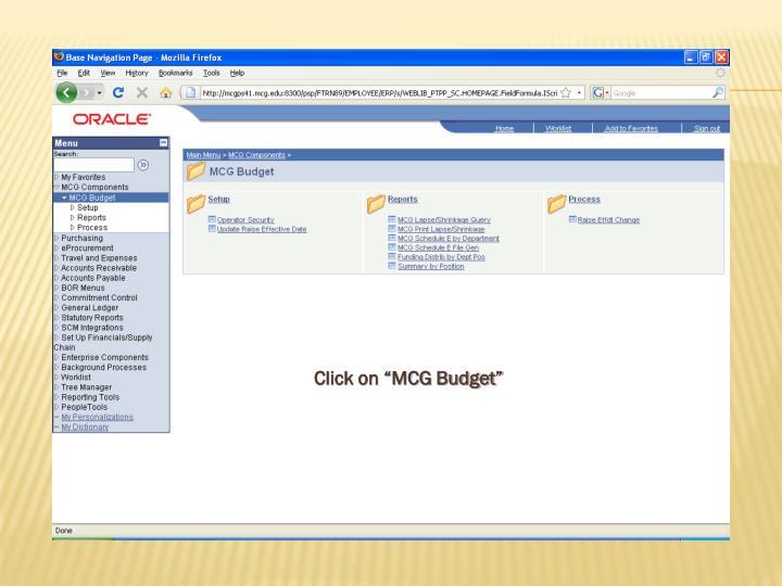 "Click on ""MCG Budget"""