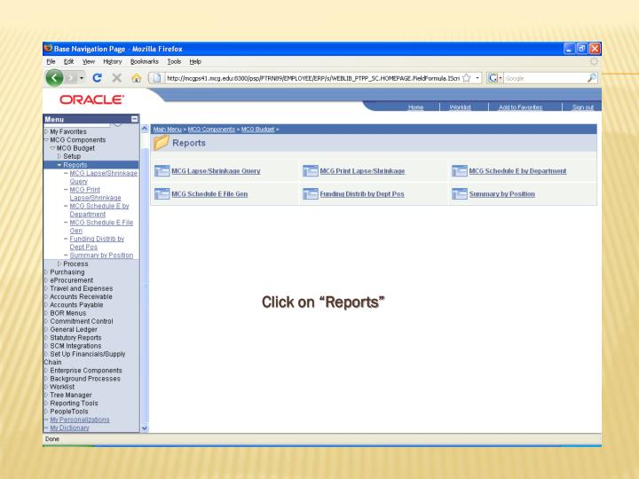 """Click on """"Reports"""""""