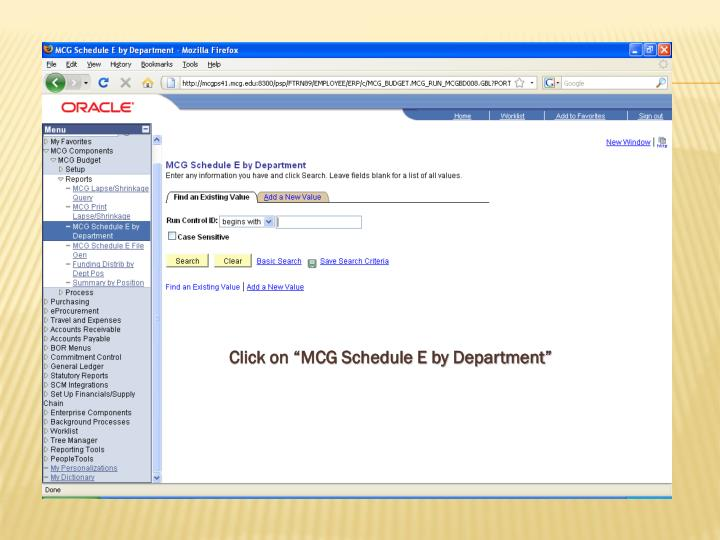 """Click on """"MCG Schedule E by Department"""""""