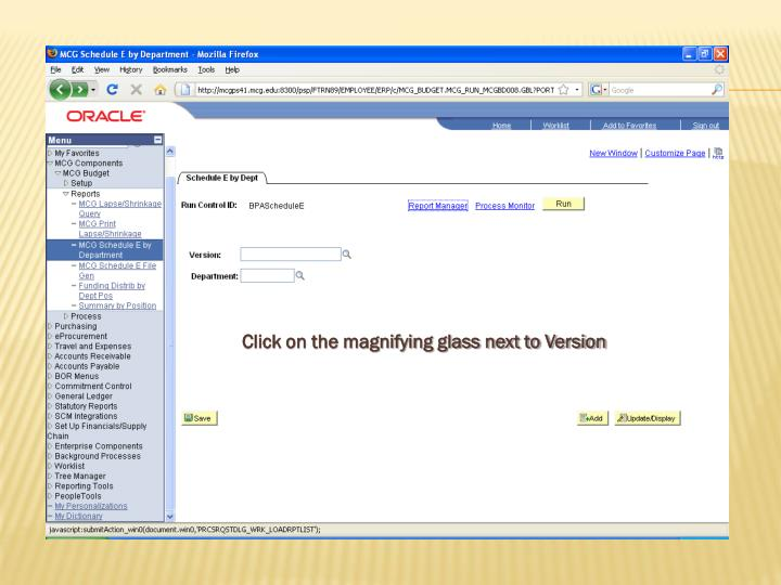 Click on the magnifying glass next to Version