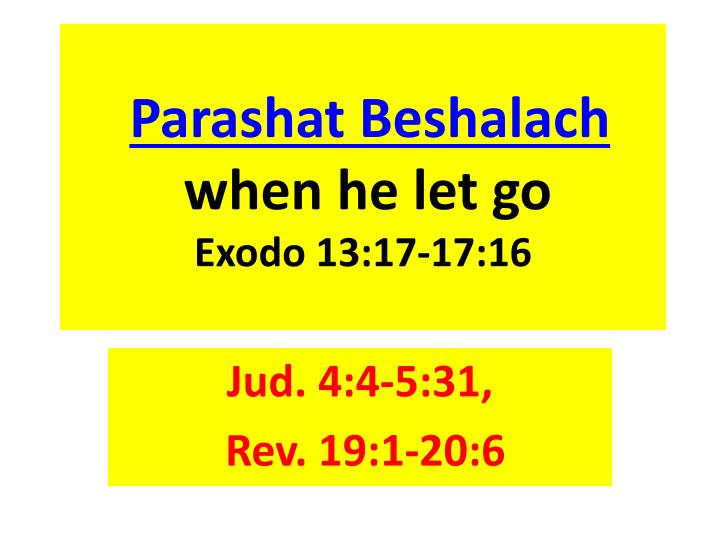 Parashat beshalach when he let go exodo 13 17 17 16