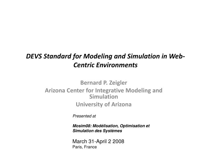 devs standard for modeling and simulation in web centric environments n.