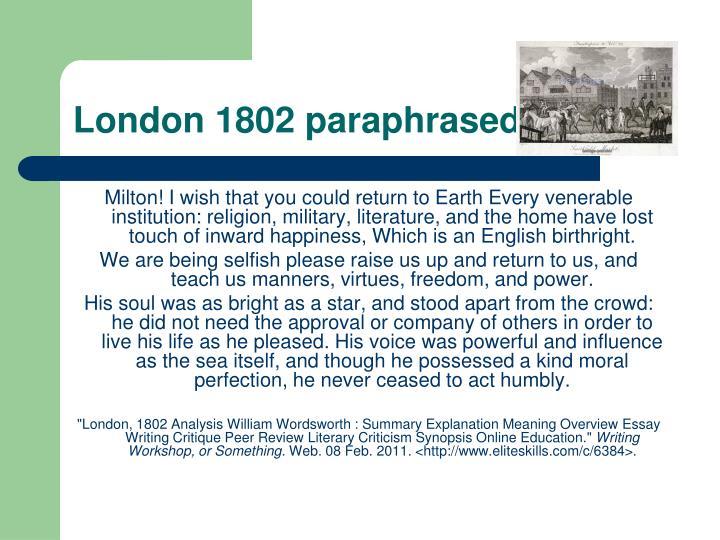 london 1802 analysis