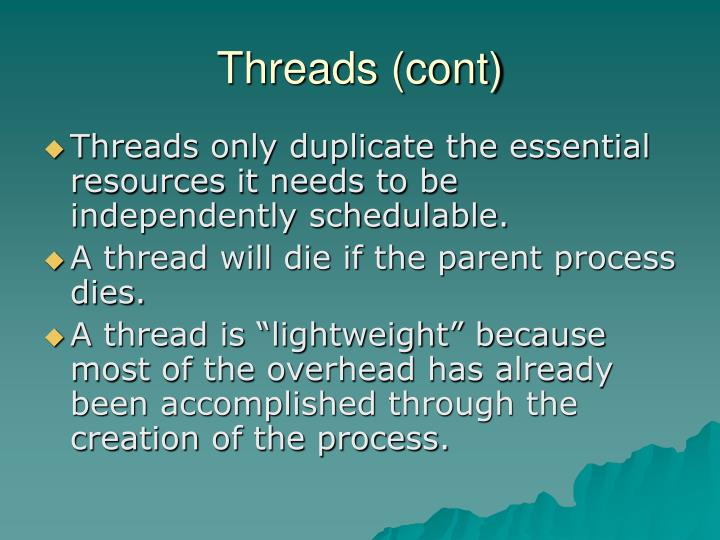 Threads (cont)