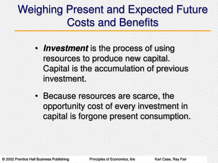 Weighing Present and Expected Future Costs and Benefits