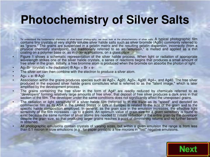 Photochemistry of Silver Salts