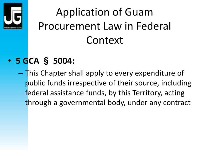 Application of Guam Procurement Law in Federal Context