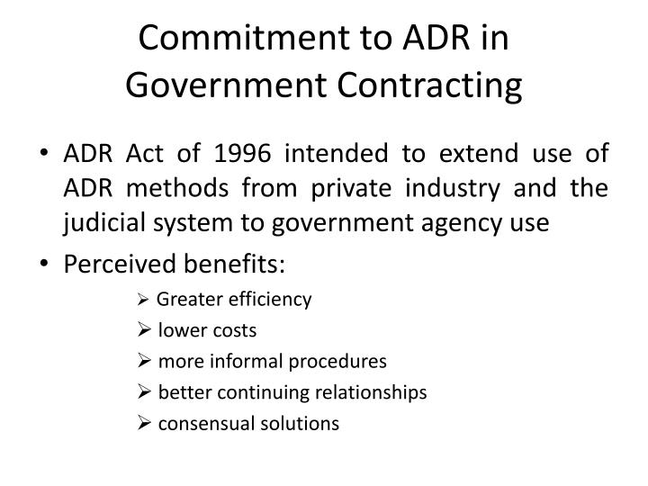 Commitment to ADR in Government Contracting