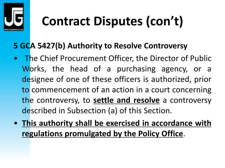 Contract Disputes (con't)