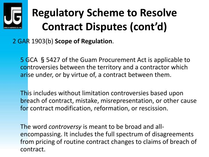 Regulatory Scheme to Resolve Contract Disputes (cont'd)