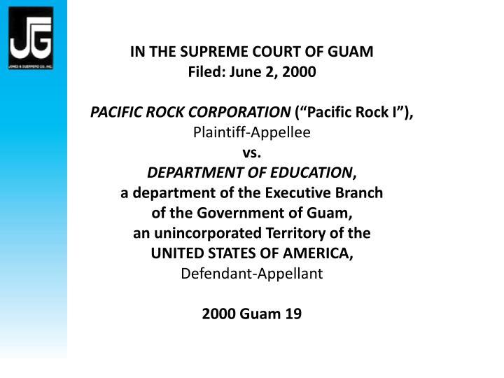 IN THE SUPREME COURT OF GUAM