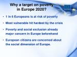 why a target on poverty in europe 2020