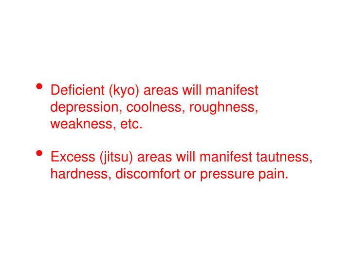 Deficient (kyo) areas will manifest depression, coolness, roughness, weakness, etc.