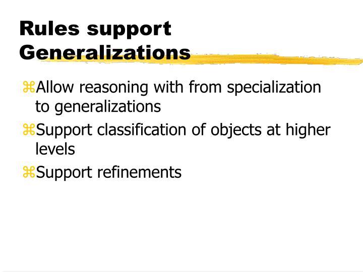 Rules support Generalizations