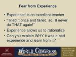 fear from experience