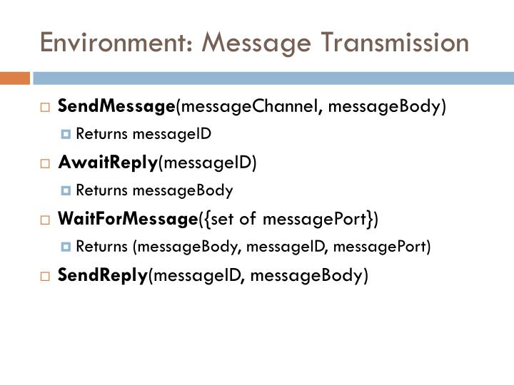 Environment: Message Transmission