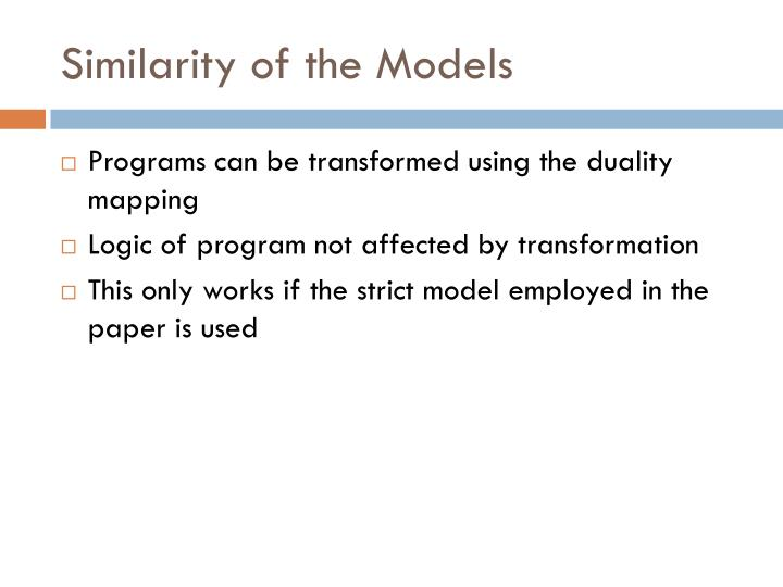 Similarity of the Models