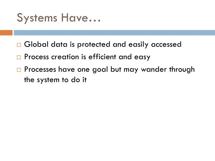 Systems Have…