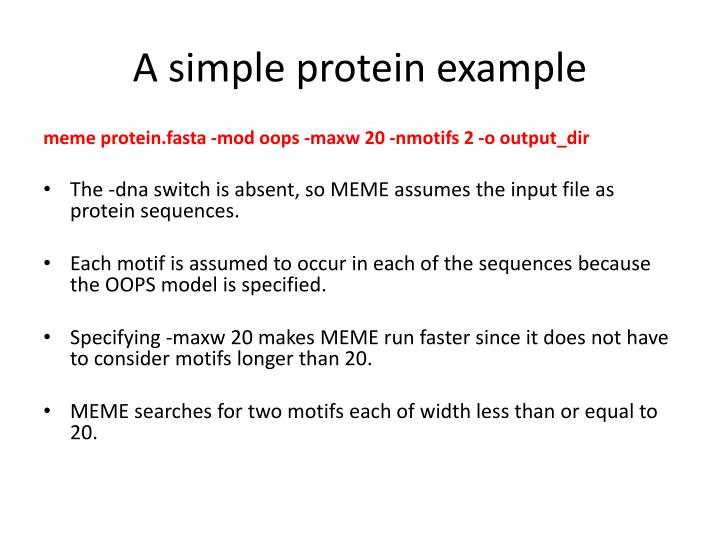A simple protein example