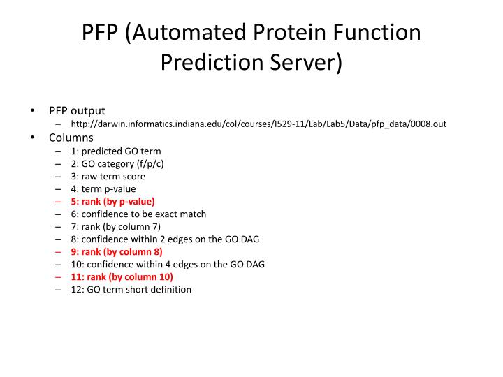 PFP (Automated Protein Function Prediction Server)