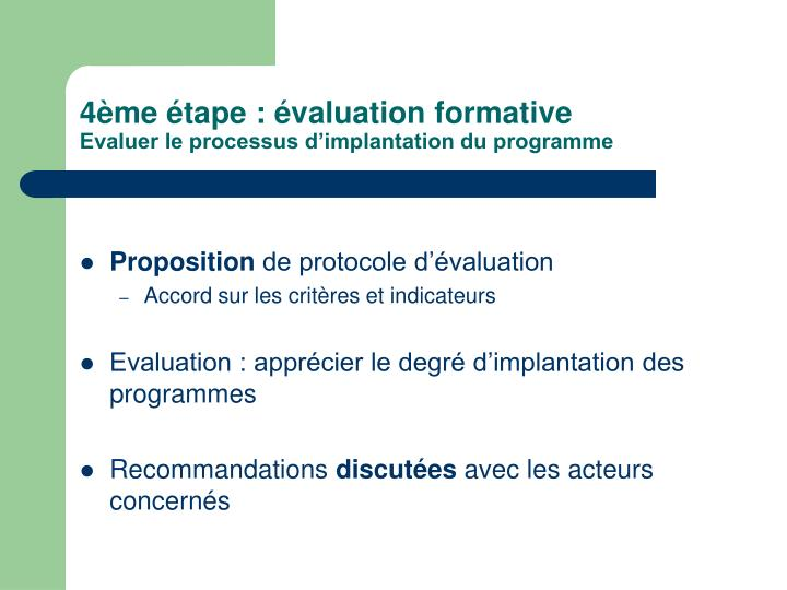 4ème étape : évaluation formative