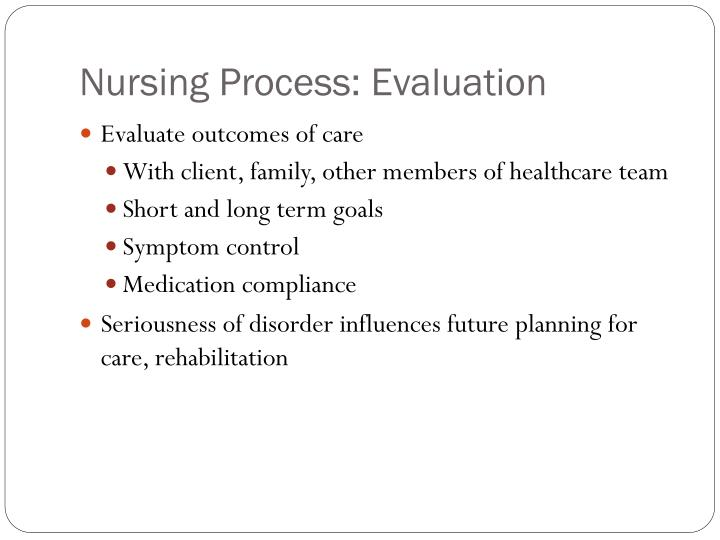 Nursing Process: Evaluation