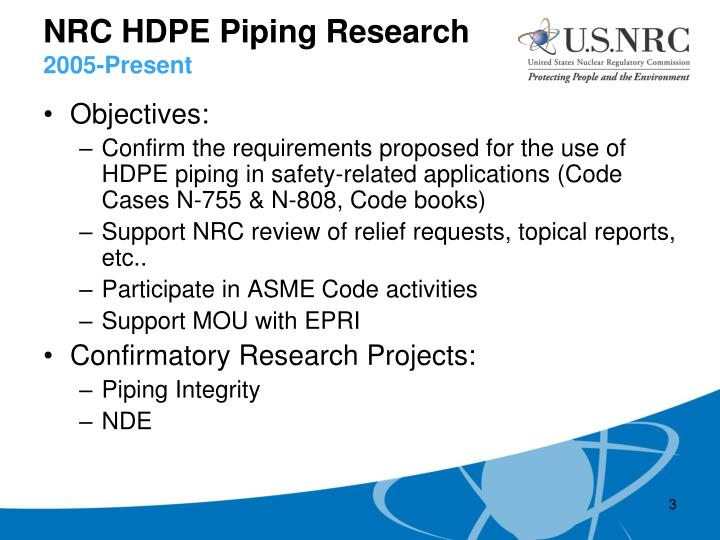 Nrc hdpe piping research 2005 present
