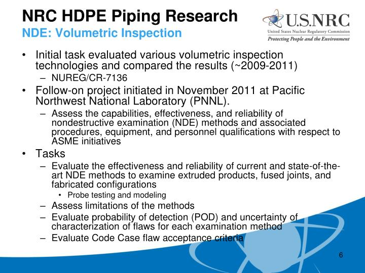 NRC HDPE Piping Research
