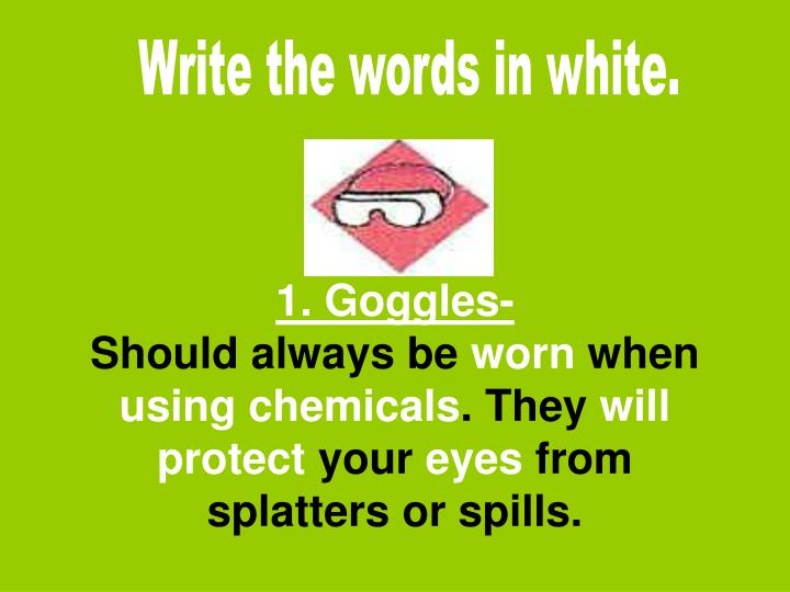 Write the words in white.