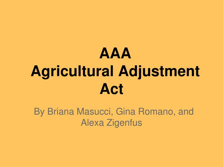 aaa agricultural adjustment act n.